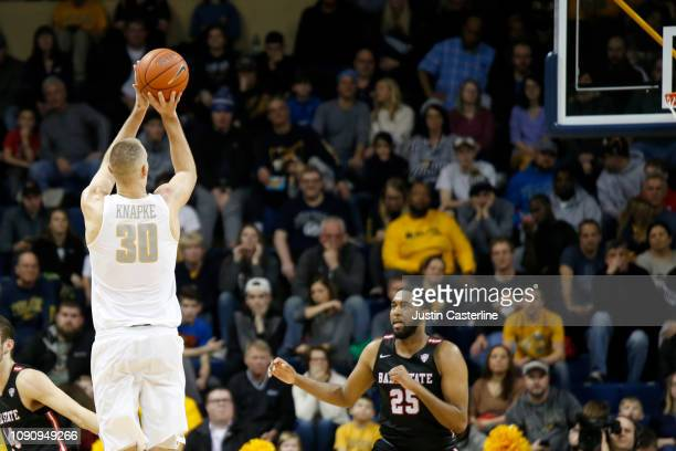 Luke Knapke of the Toledo Rockets shoots the ball in the game against the Ball State Cardinals during the second half at Savage Arena on January 04...