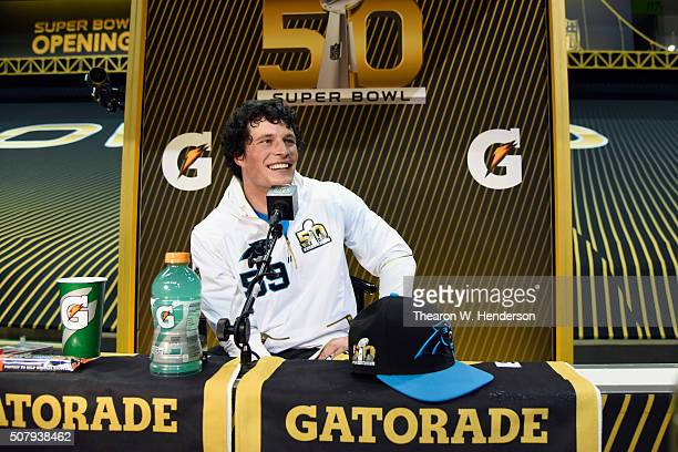 Luke Kuechly of the Carolina Panthers addresses the media at Super Bowl Opening Night Fueled by Gatorade at SAP Center on February 1 2016 in San Jose...