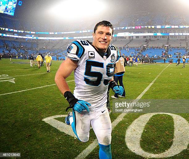 Luke Kuechly of the Carolina Panthers celebrates after the NFC Wild Card Playoff game against the Arizona Cardinals on January 3 2015 at Bank of...