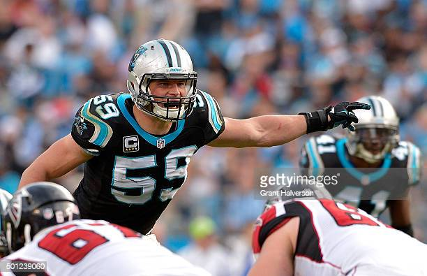 Luke Kuechly of the Carolina Panthers reads the Atlanta Falcons offense in the 3rd quarter during their game at Bank of America Stadium on December...