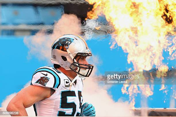 Luke Kuechly of the Carolina Panthers takes the field against the Seattle Seahawks at the NFC Divisional Playoff Game at Bank of America Stadium on...