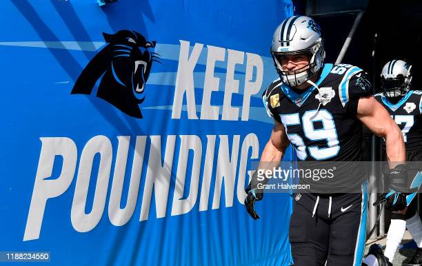 Luke Kuechly of the Carolina Panthers takes the field before their game against the Atlanta Falcons at Bank of America Stadium on November 17 2019 in...