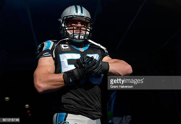 Luke Kuechly of the Carolina Panthers waits to take the field during their game against the Atlanta Falcons at Bank of America Stadium on December 13...