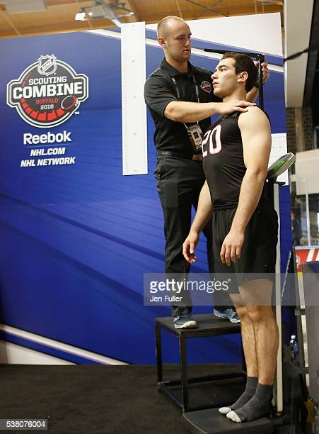 Luke Kunin is measured for Height/Wingspan during the NHL Combine at HarborCenter on June 4 2016 in Buffalo New York