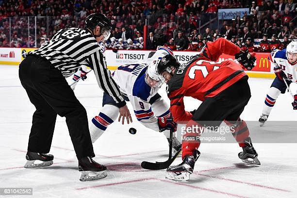 Luke Kunin of Team United States and Anthony Cirelli of Team Canada faceoff during the 2017 IIHF World Junior Championship gold medal game at the...