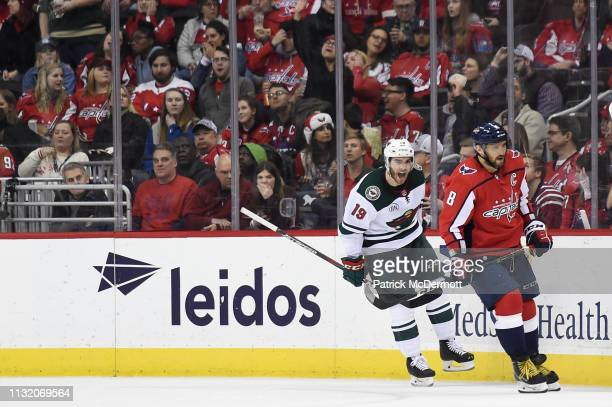Luke Kunin of the Minnesota Wild celebrates after scoring a goal in the third period against the Washington Capitals at Capital One Arena on March 22...