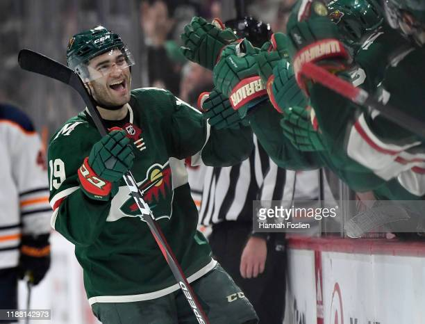 Luke Kunin of the Minnesota Wild celebrates scoring a goal against the Edmonton Oilers during the third period of the game at Xcel Energy Center on...