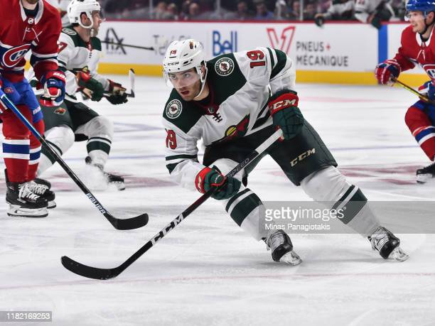Luke Kunin of the Minnesota Wild skates against the Montreal Canadiens during the third period at the Bell Centre on October 17, 2019 in Montreal,...