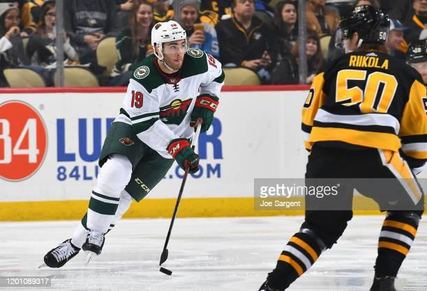 Luke Kunin of the Minnesota Wild skates against the Pittsburgh Penguins at PPG PAINTS Arena on January 14, 2020 in Pittsburgh, Pennsylvania.
