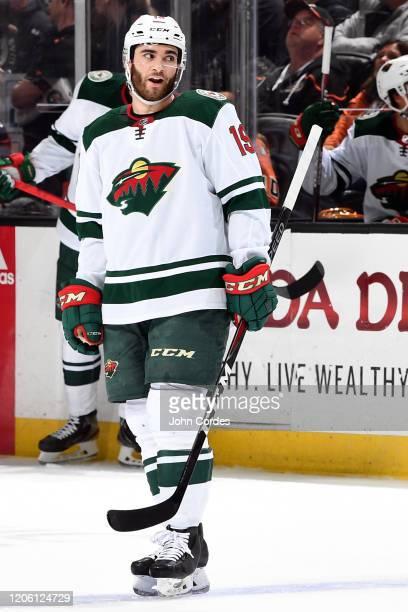 Luke Kunin of the Minnesota Wild skates during the game against the Anaheim Ducks at Honda Center on March 8, 2020 in Anaheim, California.