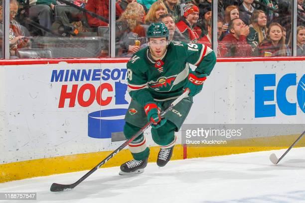 Luke Kunin of the Minnesota Wild skates in his 100th career NHL game against the Philadelphia Flyers at the Xcel Energy Center on December 14, 2019...