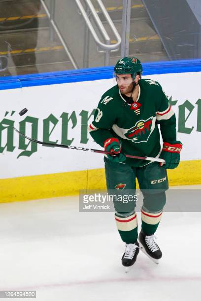 Luke Kunin of the Minnesota Wild skates in warm-ups prior to Game Four of the Western Conference Qualification Round against the Vancouver Canucks...