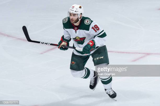 Luke Kunin of the Minnesota Wild skates on the ice during the second period against the Los Angeles Kings at STAPLES Center on March 7, 2020 in Los...