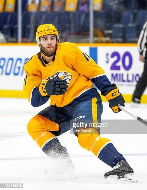 Luke Kunin of the Nashville Predators skates against the Chicago Blackhawks at Bridgestone Arena on January 27, 2021 in Nashville, Tennessee.