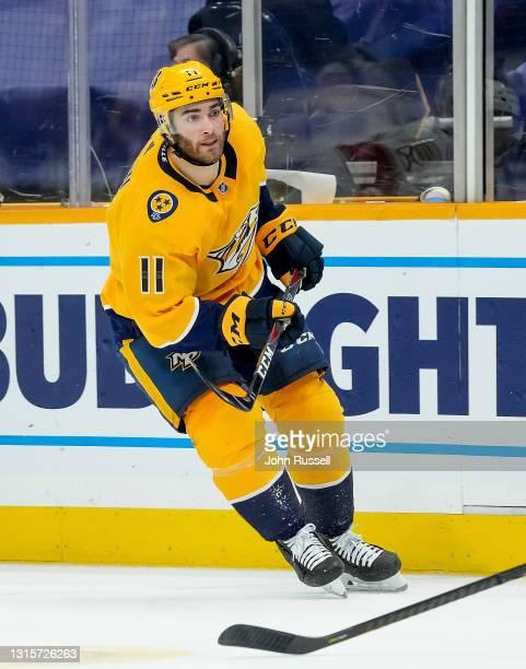 Luke Kunin of the Nashville Predators skates against the Florida Panthers at Bridgestone Arena on April 27, 2021 in Nashville, Tennessee.
