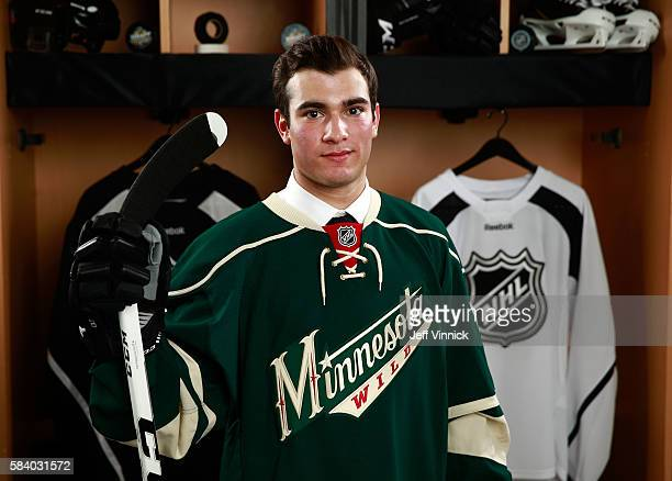 Luke Kunin, selected 15th overall by the Minnesota Wild, poses for a portrait during round one of the 2016 NHL Draft at First Niagara Center on June...