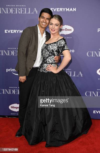 """Luke Latchman and Tallulah Greive attend the """"Cinderella"""" UK Partner Event at Everyman Broadgate on September 02, 2021 in London, England."""