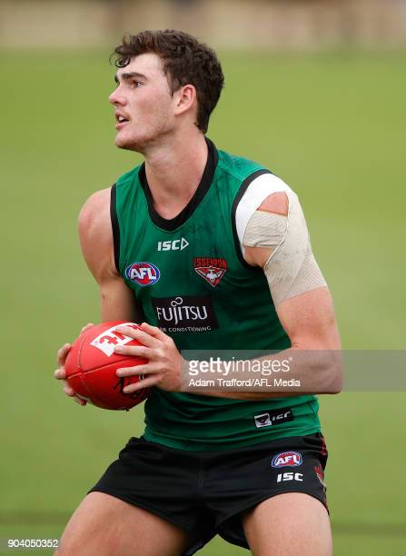 Luke Lavender of the Bombers in action during the Essendon Bombers training session at The Hangar on January 12 2018 in Melbourne Australia
