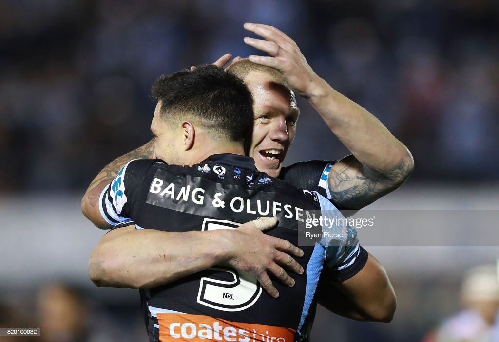 Luke Lewis of the Sharks celebrates after Gerard Beale of the Sharks scored a tryduring the round 20 NRL match between the Cronulla Sharks and the South Sydney Rabbitohs at Southern Cross Group Stadium on July 21, 2017 in Sydney, Australia.
