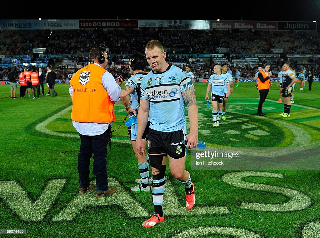 Luke Lewis of the Sharks looks dejected after losing the Second NRL Semi Final match between the North Queensland Cowboys and the Cronulla Sharks at 1300SMILES Stadium on September 19, 2015 in Townsville, Australia.