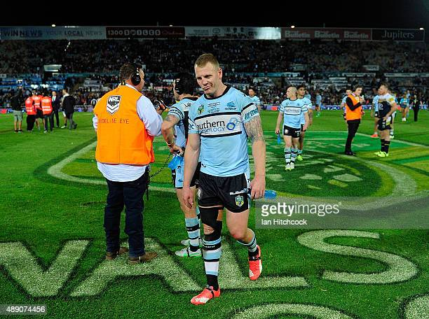 Luke Lewis of the Sharks looks dejected after losing the Second NRL Semi Final match between the North Queensland Cowboys and the Cronulla Sharks at...