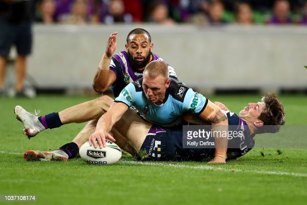 Luke Lewis of the Sharks scores a try during the NRL Preliminary Final match between the Melbourne Storm and the Cronulla Sharks at AAMI Park on...