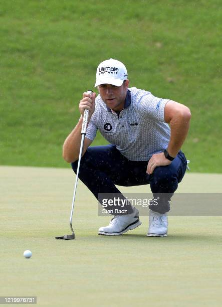 Luke List checks his putt on the seventh hole during the final round at the Korn Ferry Tour's Korn Ferry Challenge at TPC Sawgrass at Dyes Valley...