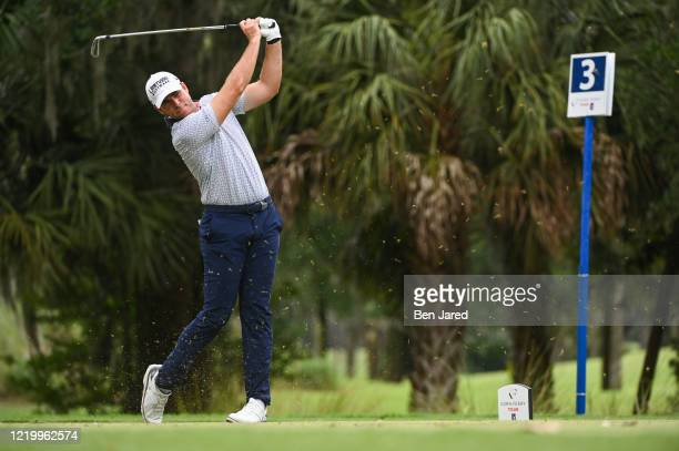 Luke List hits a shot on the third tee during the final round at the Korn Ferry Tour's Korn Ferry Challenge at TPC Sawgrass at Dyes Valley Course on...