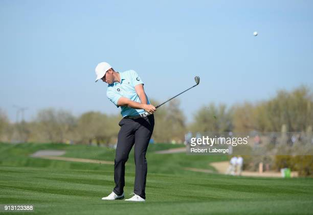 Luke List hits his second shot on the sixth hole during the first round of the Waste Management Phoenix Open at TPC Scottsdale on February 1 2018 in...