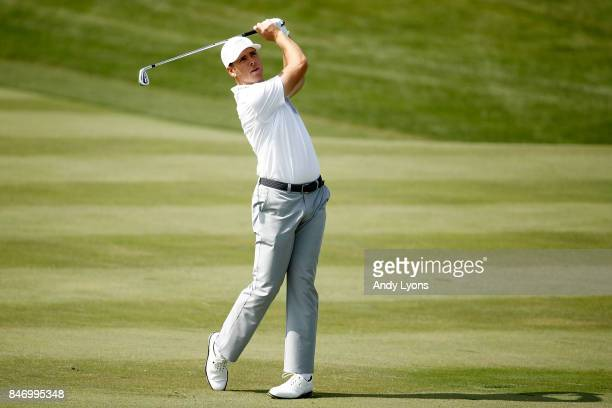Luke List hits his second shot on the third hole during the first round of the BMW Championship at Conway Farms Golf Club on September 14 2017 in...
