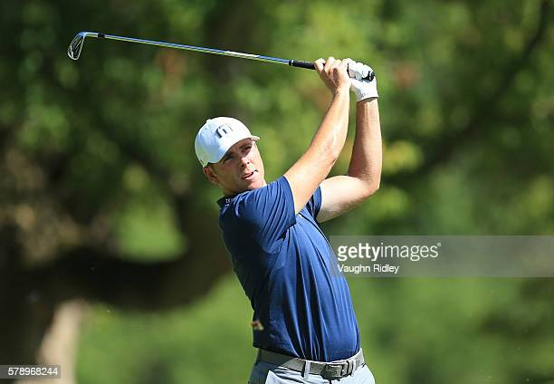 Luke List hits his tee shot on the 12th hole during the second round of the RBC Canadian Open at Glen Abbey Golf Club on July 22 2016 in Oakville...