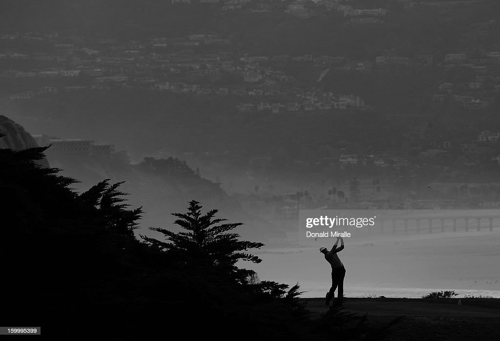 Luke List hits off the tee box during the first round at the Farmers Insurance Open at Torrey Pines Golf Course on January 24, 2013 in La Jolla, California.