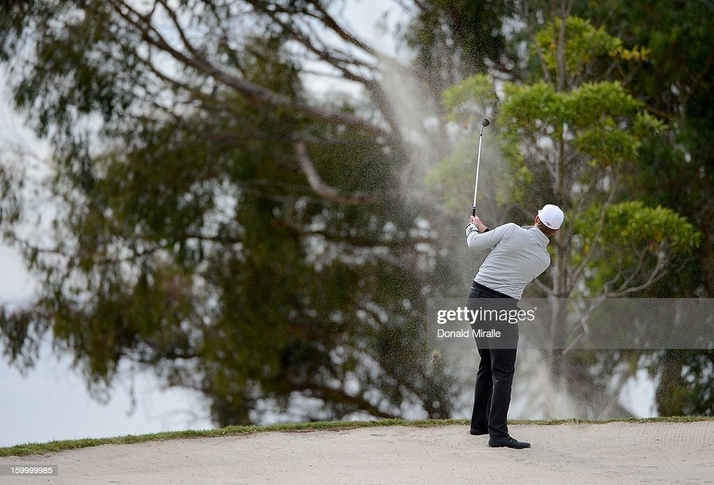 Luke List hits out of the bunker during the first round at the Farmers Insurance Open at Torrey Pines Golf Course on January 24, 2013 in La Jolla, California.