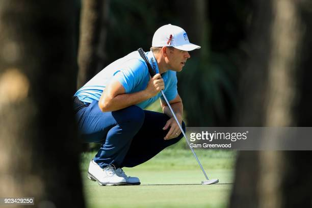 Luke List lines up his putt on the seventh green during the second round of the Honda Classic at PGA National Resort and Spa on February 23 2018 in...