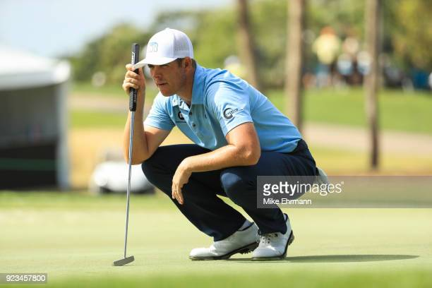 Luke List lines up his shot on the eighth green during the second round of the Honda Classic at PGA National Resort and Spa on February 23 2018 in...
