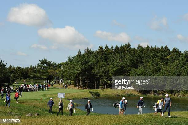 Luke List looks back on the 9th hole during the third round of the CJ Cup at Nine Bridges on October 21 2017 in Jeju South Korea