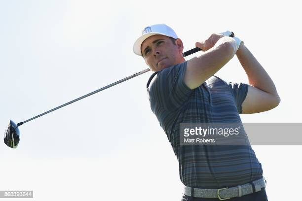 Luke List of the United States hits his tee shot on the 9th hole during the second round of the CJ Cup at Nine Bridges on October 20 2017 in Jeju...