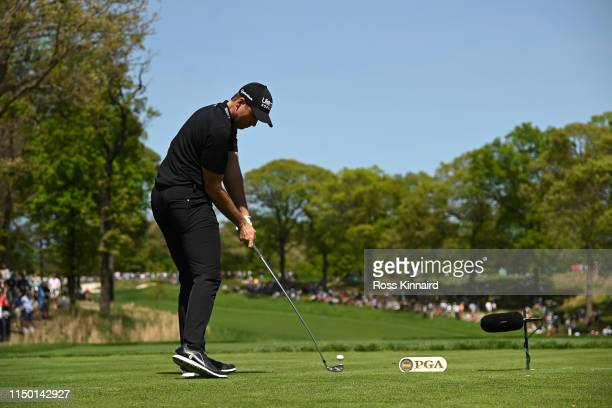 Luke List of the United States plays a shot from the second tee during the third round of the 2019 PGA Championship at the Bethpage Black course on...