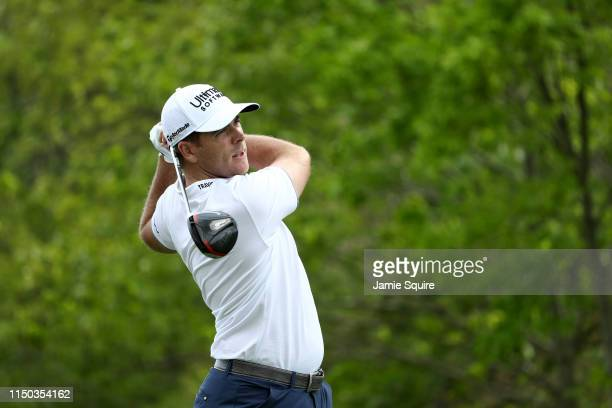 Luke List of the United States plays a shot from the tenth tee during the final round of the 2019 PGA Championship at the Bethpage Black course on...