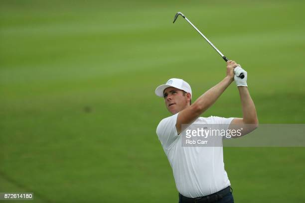 Luke List of the United States plays a shot on the 18th hole during the second round of the OHL Classic at Mayakoba on November 10 2017 in Playa del...