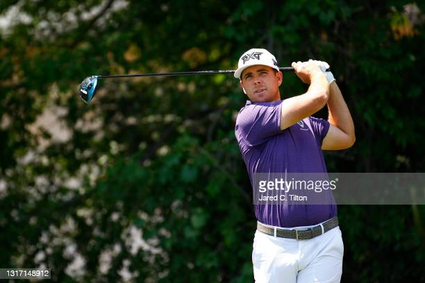 Luke List of the United States plays a shot on the seventh hole during the final round of the 2021 Wells Fargo Championship at Quail Hollow Club on...