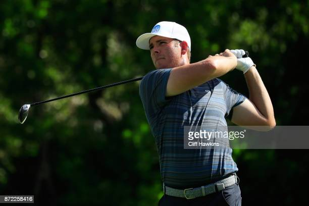 Luke List of the United States plays a shot plays his shot from the 16th tee during the first round of the OHL Classic at Mayakoba on November 9 2017...