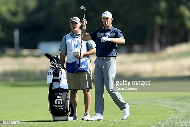 Luke List of the United States plays his second shot on the 13th hole during the first round of The Barclays in the PGA Tour FedExCup PlayOffs on the...