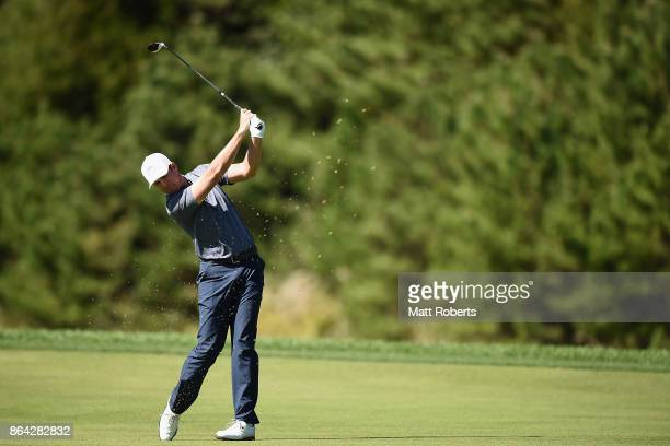 Luke List of the United States plays his second shot on the 9th hole during the third round of the CJ Cup at Nine Bridges on October 21 2017 in Jeju...