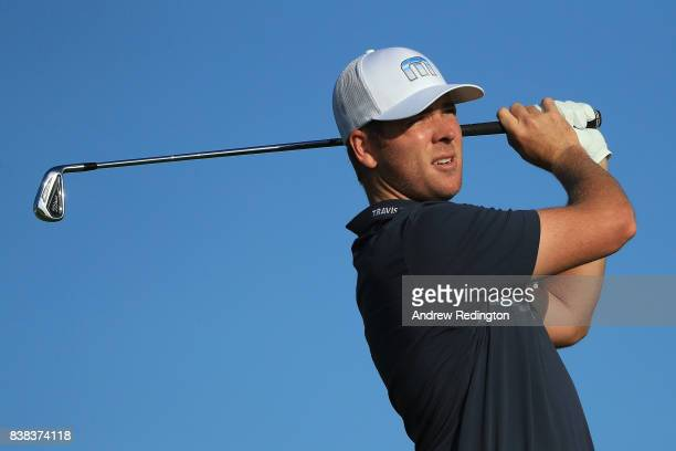 Luke List of the United States plays his shot from the 11th tee during round one of The Northern Trust at Glen Oaks Club on August 24 2017 in...