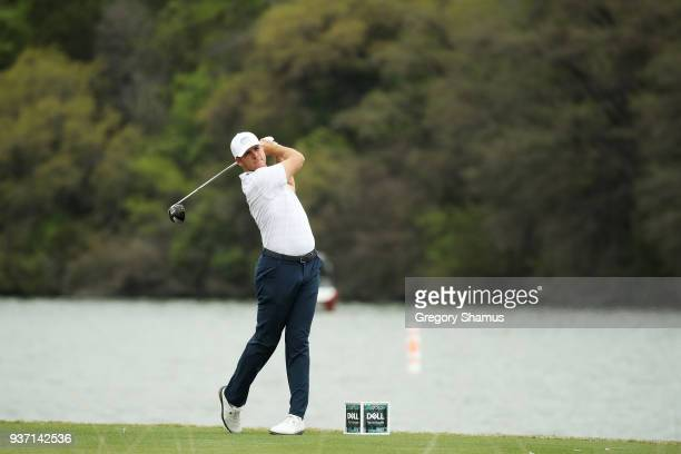 Luke List of the United States plays his shot from the 14th tee during the third round of the World Golf ChampionshipsDell Match Play at Austin...