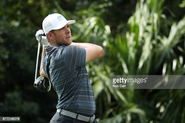 Luke List of the United States plays his shot from the 18th tee during the first round of the OHL Classic at Mayakoba on November 9 2017 in Playa del...