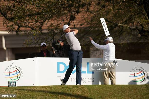 Luke List of the United States plays his shot from the first tee during the first round of the World Golf ChampionshipsDell Match Play at Austin...