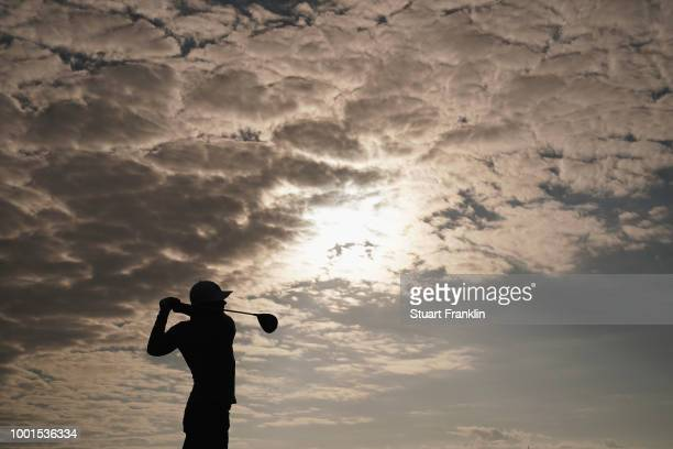 Luke List of the United States plays his shot from the fourth tee during the first round of the 147th Open Championship at Carnoustie Golf Club on...