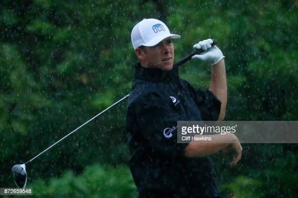 Luke List of the United States plays his shot from the seventh tee during the second round of the OHL Classic at Mayakoba on November 10 2017 in...